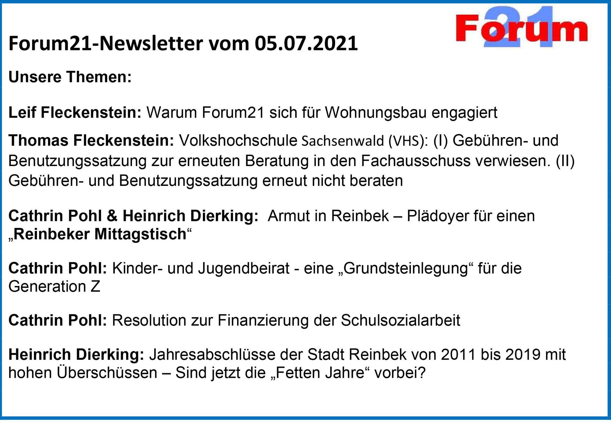 Forum21-Newsletter vom 05.07.2021 mit Berichten aus Reinbek und Stormarn