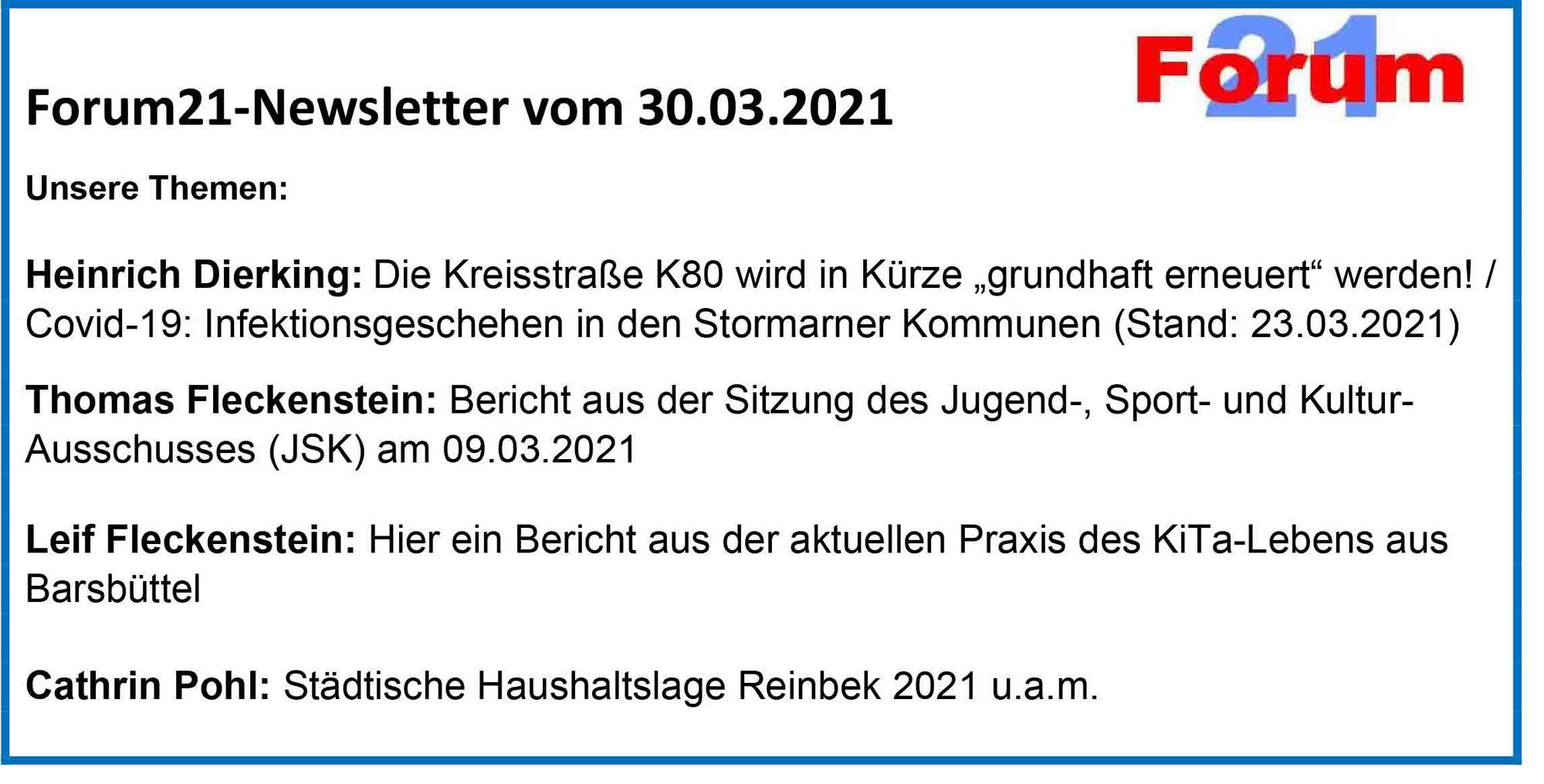 Forum21-Newsletter vom 30.03.2021