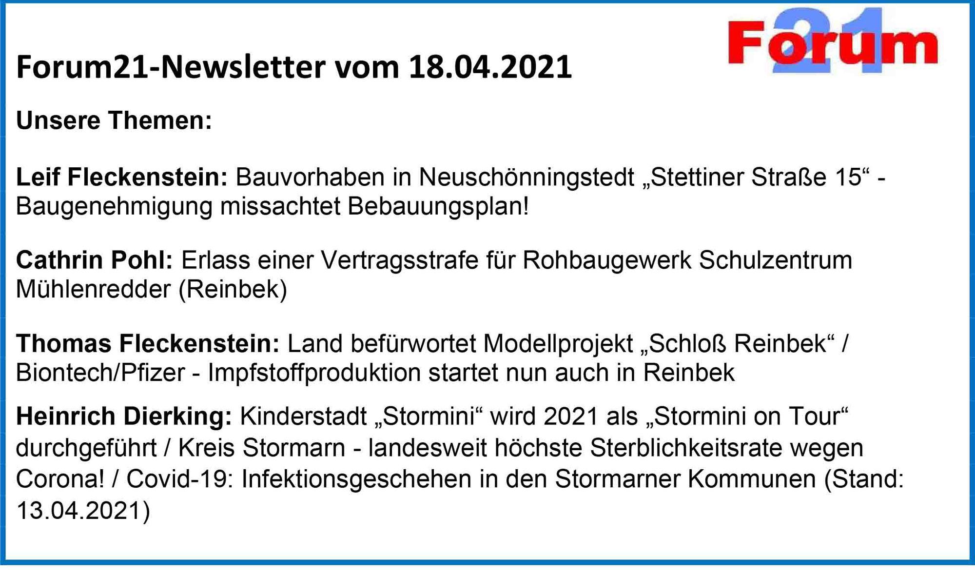 Forum21-Newsletter vom 18.04.2021