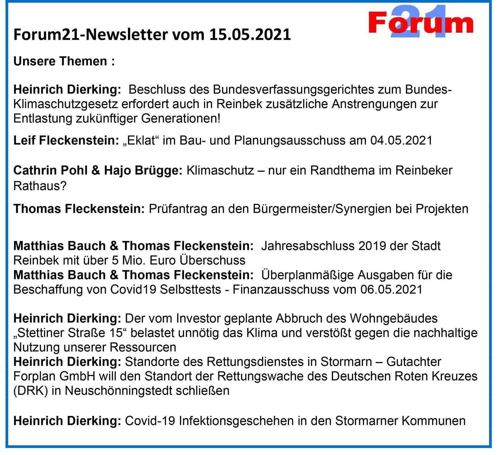 Forum21-Newsletter vom 15.05.2021