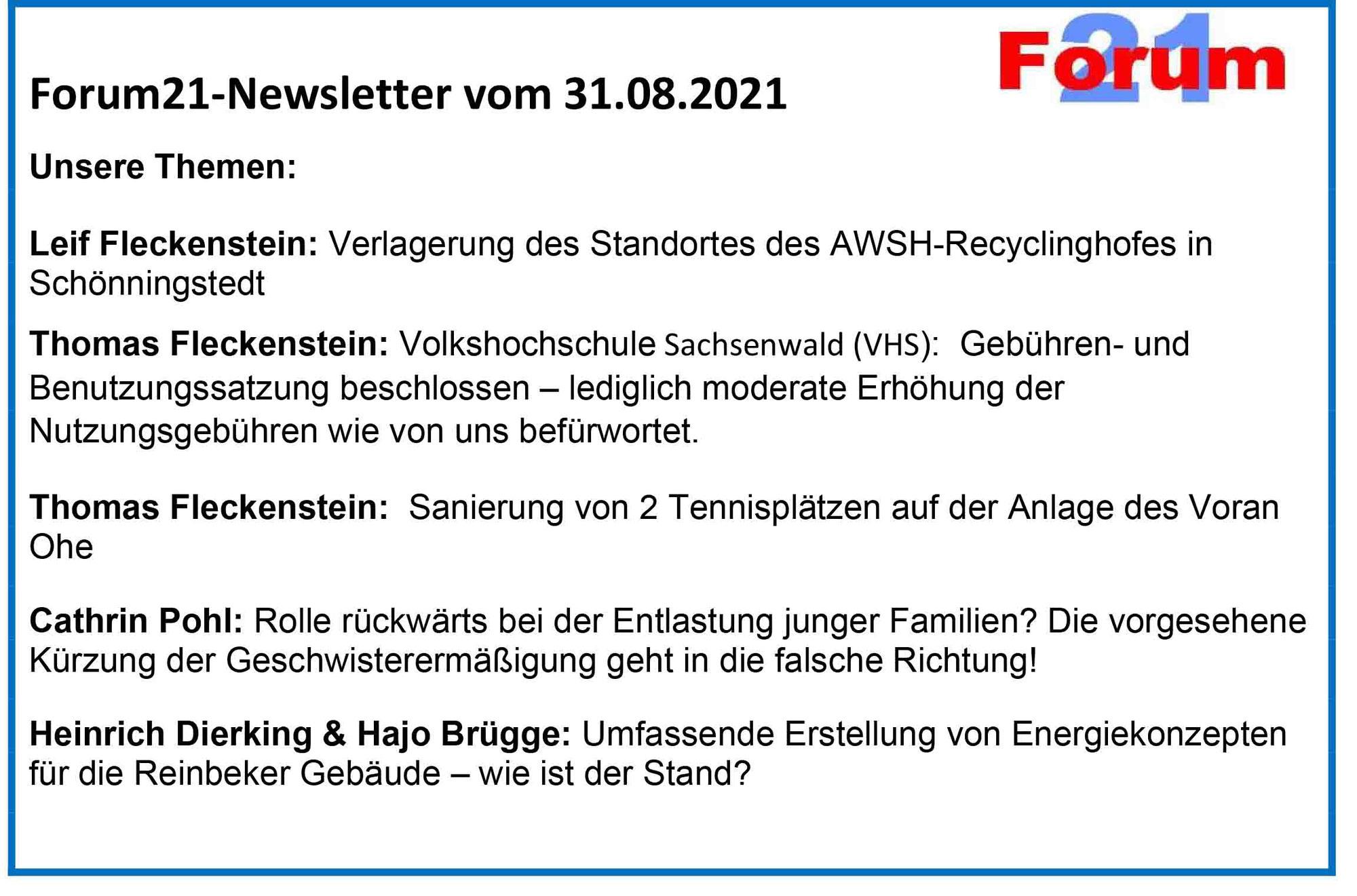 Forum21-Newsletter vom 31.08.2021