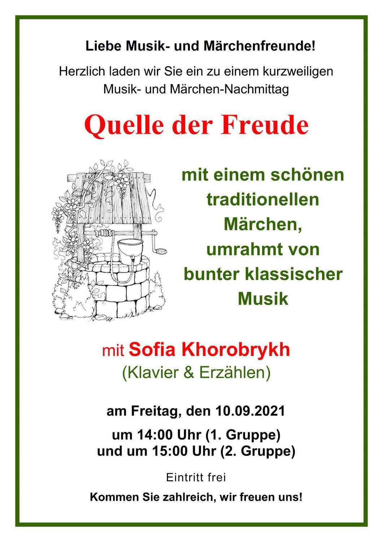 """Musikalisch-literarischer Nachmittag """"Quelle der Freude"""""""