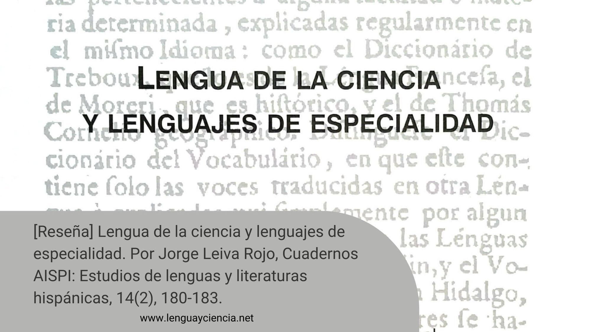 [Reseña] Lengua de la ciencia y lenguajes de especialidad