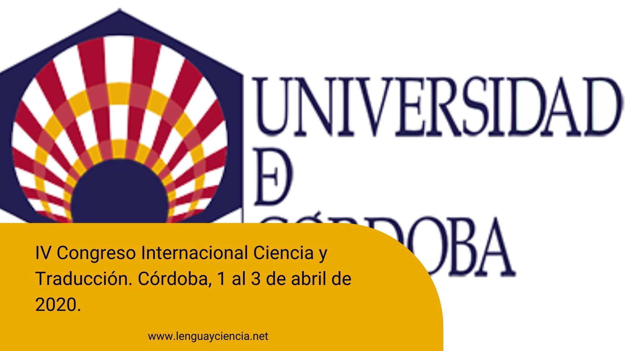 IV Congreso Internacional Ciencia y Traducción. Córdoba, abril de 2020