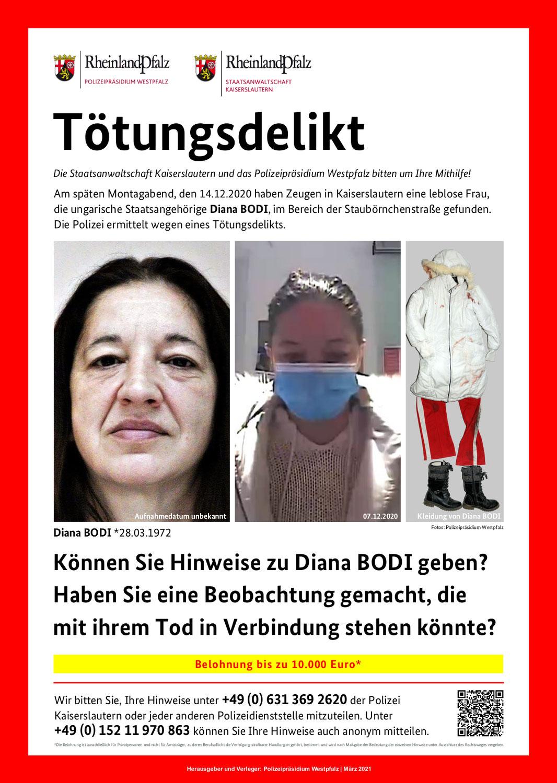Helfen Sie, den Tod von Diana Bodi aufzuklären!