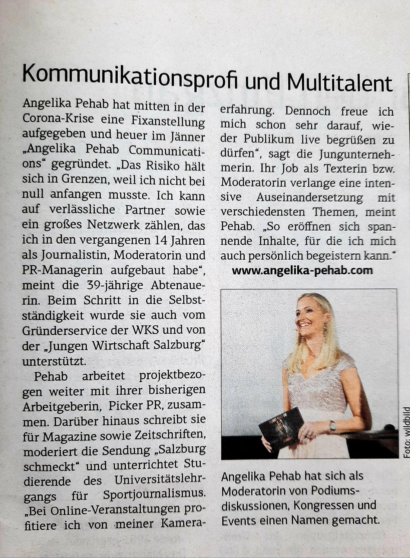 """Artikel in der """"Salzburger Wirtschaft"""""""