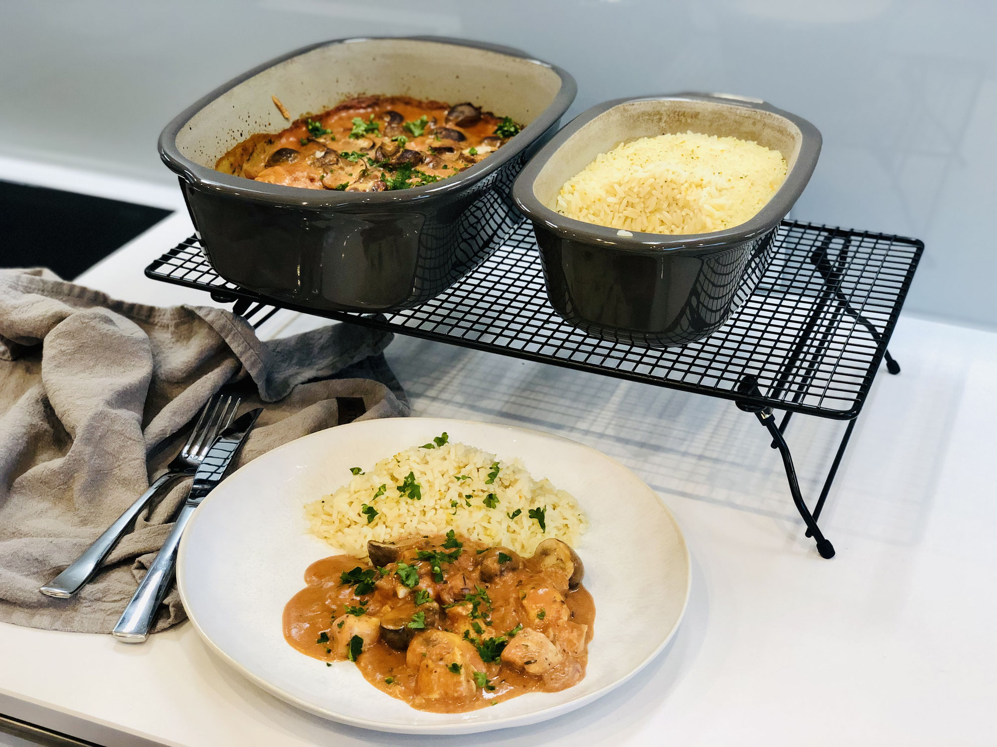 Geschnetzeltes aus dem Ofenmeister mit Reis aus dem kleinen Zaubermeister von Pampered Chef®