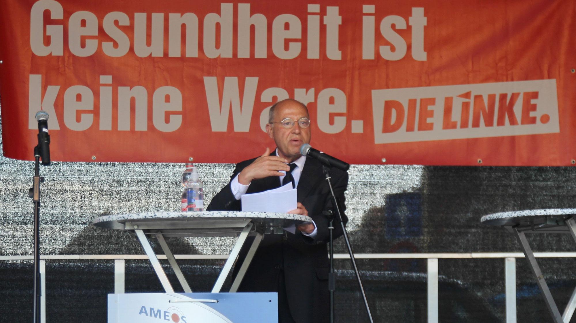 Gysi in Aschersleben: Anwalt des Ostens lockte Hunderte zur LINKEN-Kundgebung