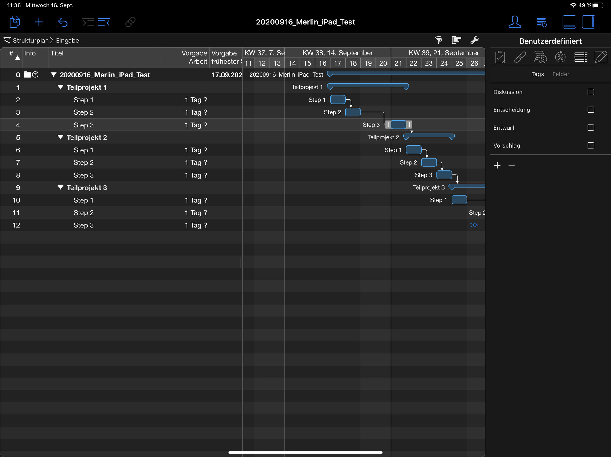 Merlin Project auf dem iPad
