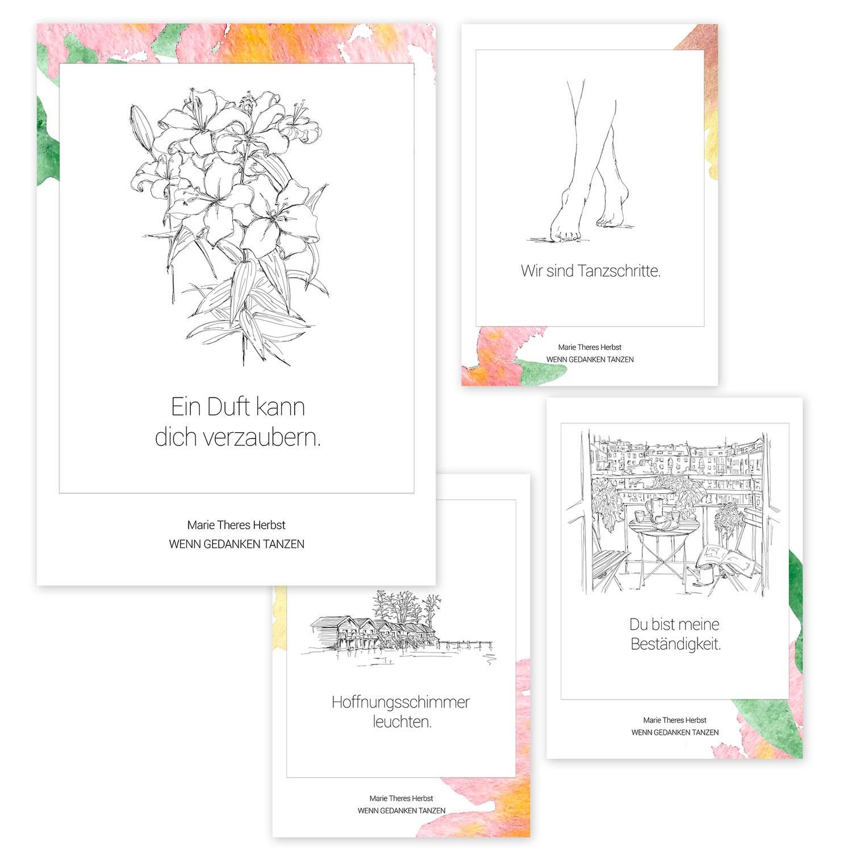 """Poetische Postkarten: """"Gedankentänze"""" von Marie Theres Herbst"""