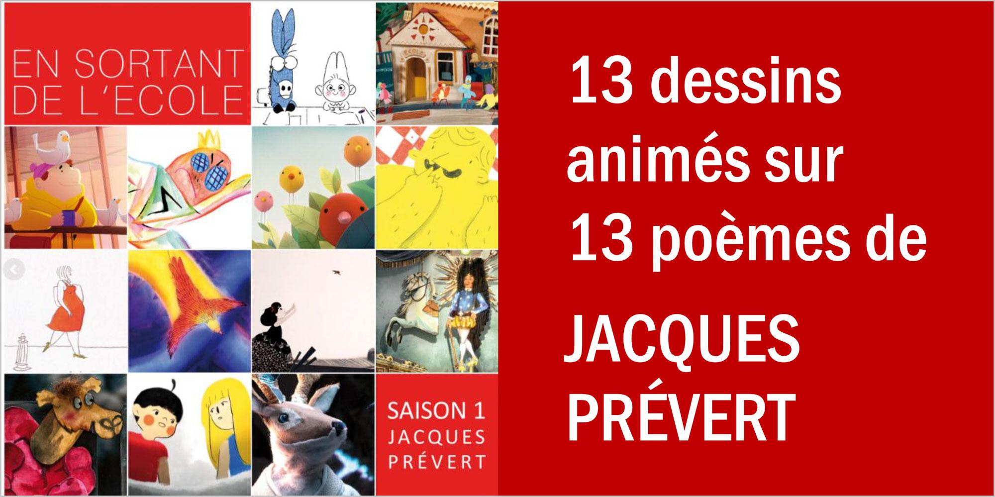"""""""En sortant de l'école"""": 13 dessins animés sur les poèmes de JACQUES PRÉVERT"""