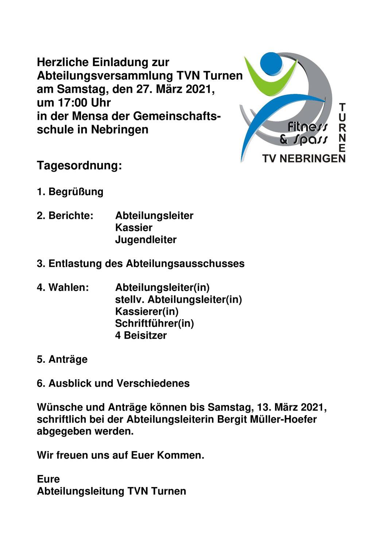 Einladung Abteilungsversammlung Abteilung Turnen am 27.03.2021