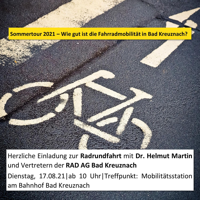 Einladung zur Radrundfahrt mit Dr. Helmut Martin und RAD AG Bad Kreuznach