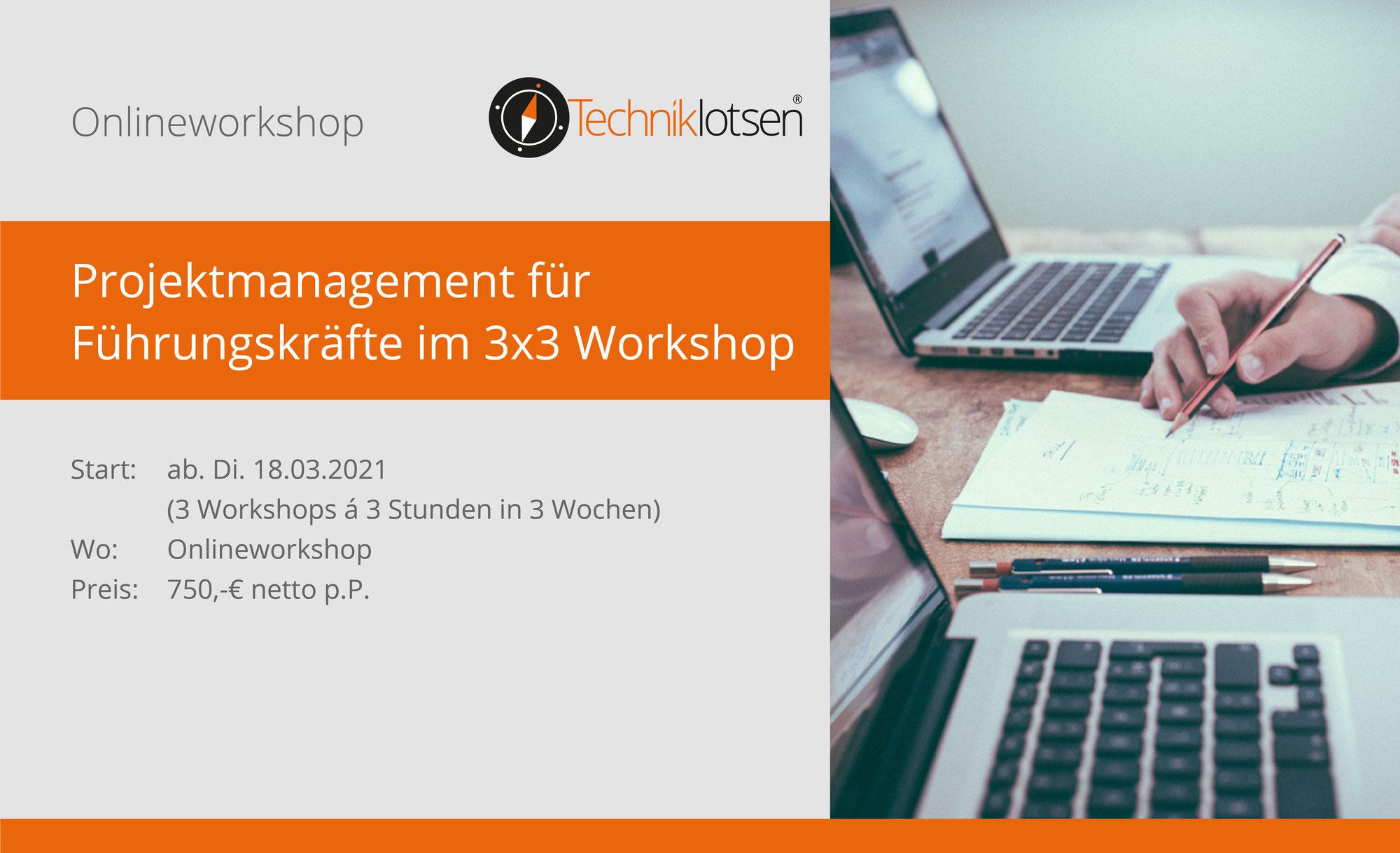 Projektmanagement für Führungskräfte im 3x3 Workshop