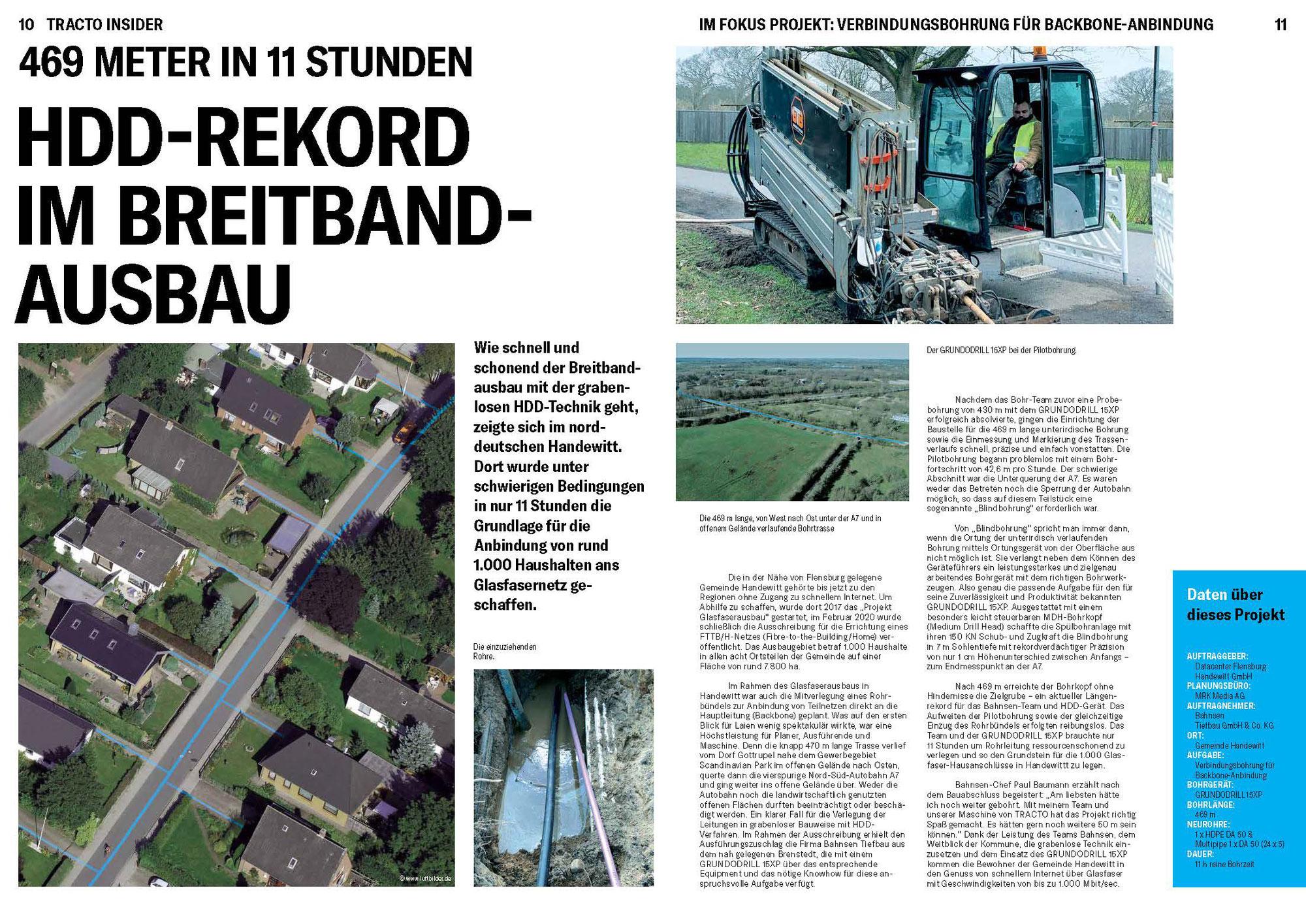 Bahnsen Tiefbau - HDD-REKORD IM BREITBANDAUSBAU
