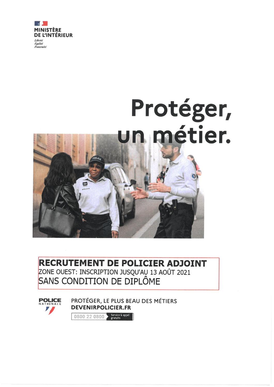 Recrutement de policier adjoint sans condition de diplôme