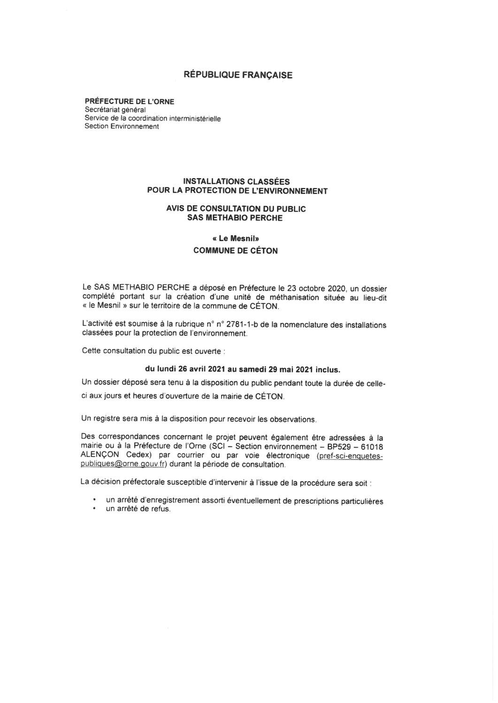 Avis de consultation du public SAS METHABIO PERCHE