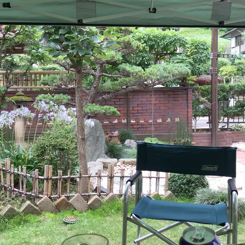 庭で初キャンプ