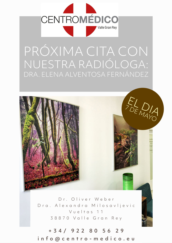 Próxima Cita con nuestra Radióloga DRA. ELENA ALVENTOSA FERNANDEZ