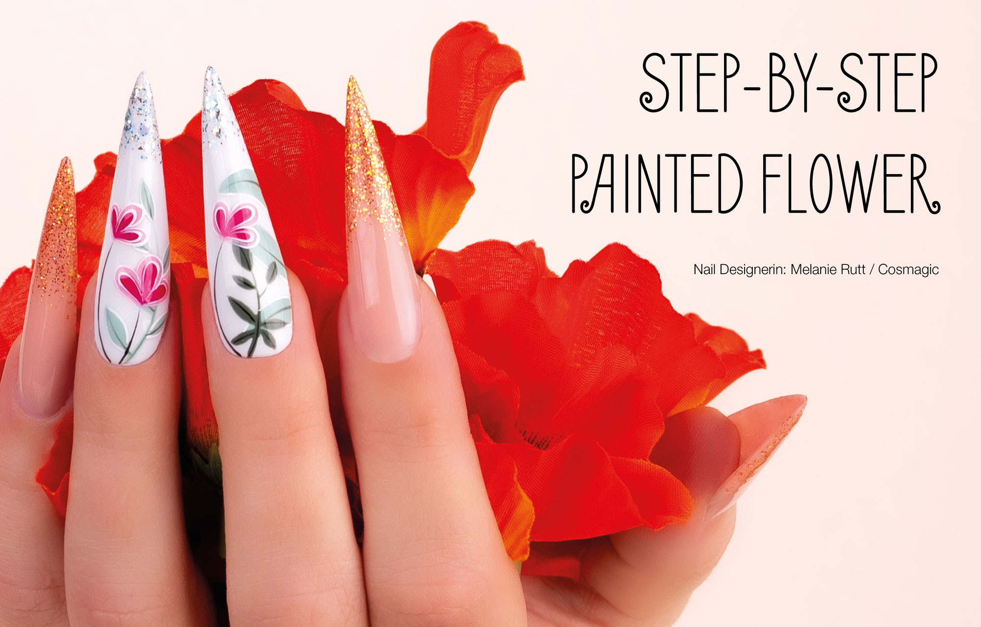 Nail Art Painted Flower