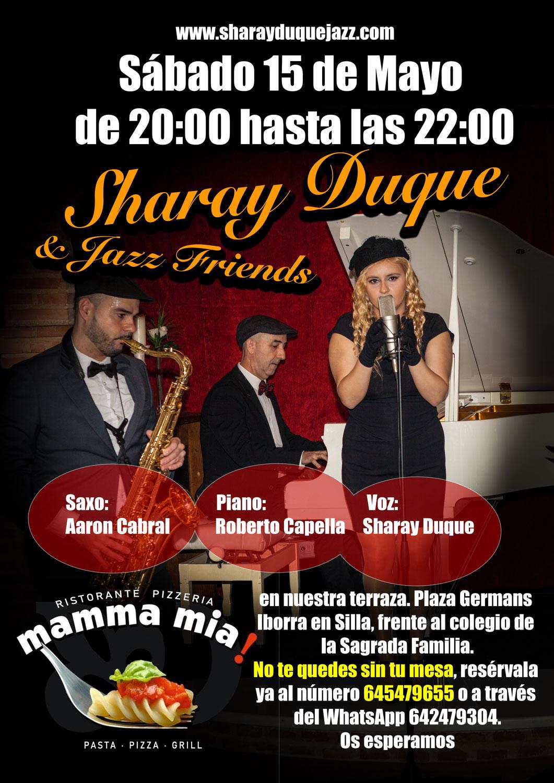 Sharay Duque Trio el 15 de Mayo en Mamma Mia (Silla)