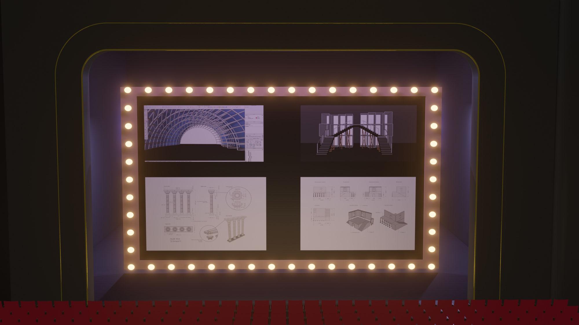 Visualisierung für Szenografie- 2D-Layout und 3D-Modell