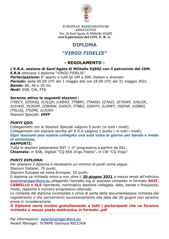 Diploma VIRGO FIDELITAS E.R.A.