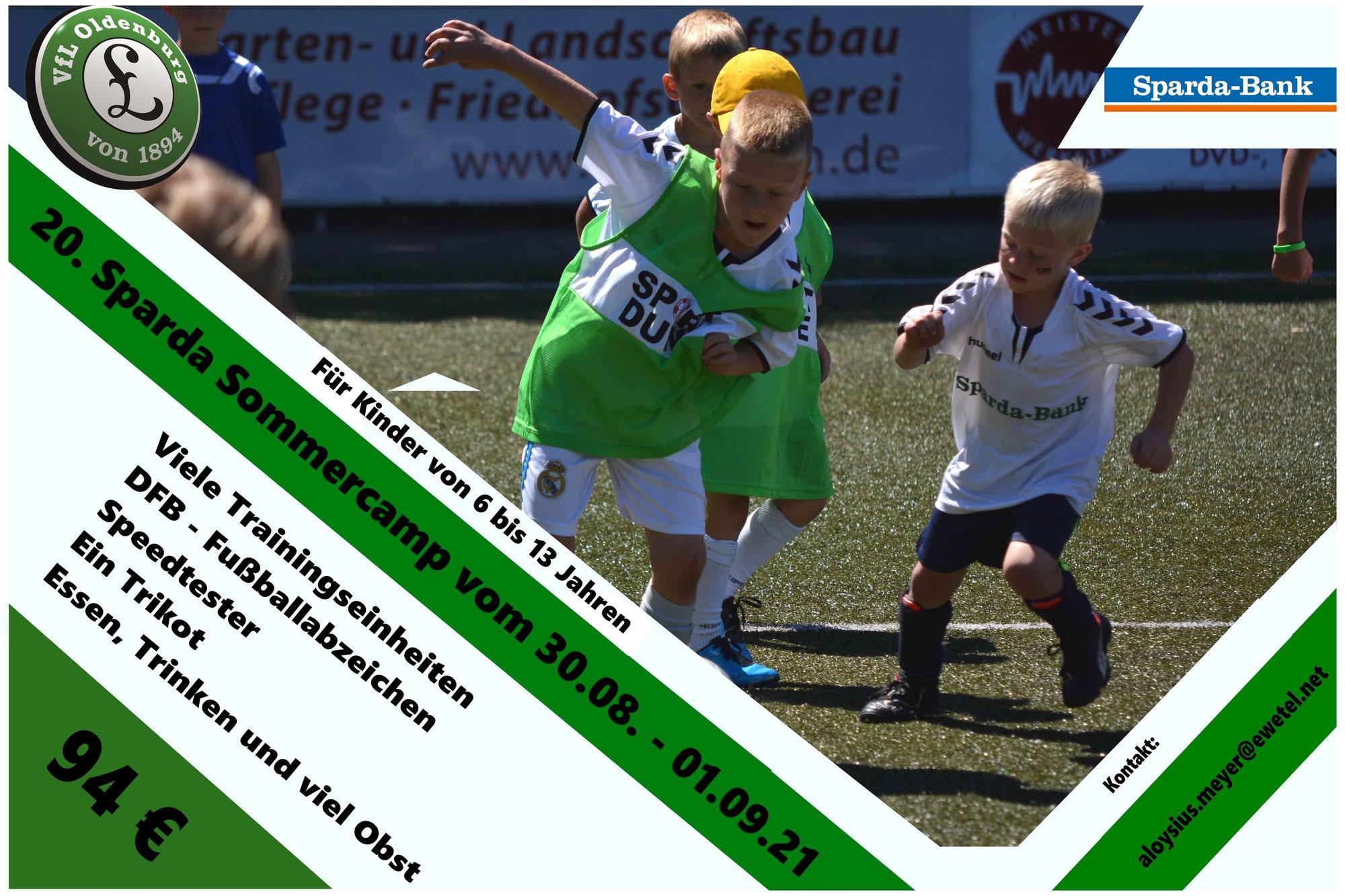 20. Sparda - Sommercamp des VfL Oldenburg vom 30.08. bis zum 01.09.21