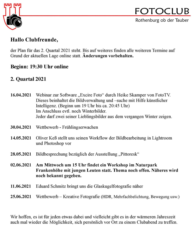 Programm 2. Quartal 2021
