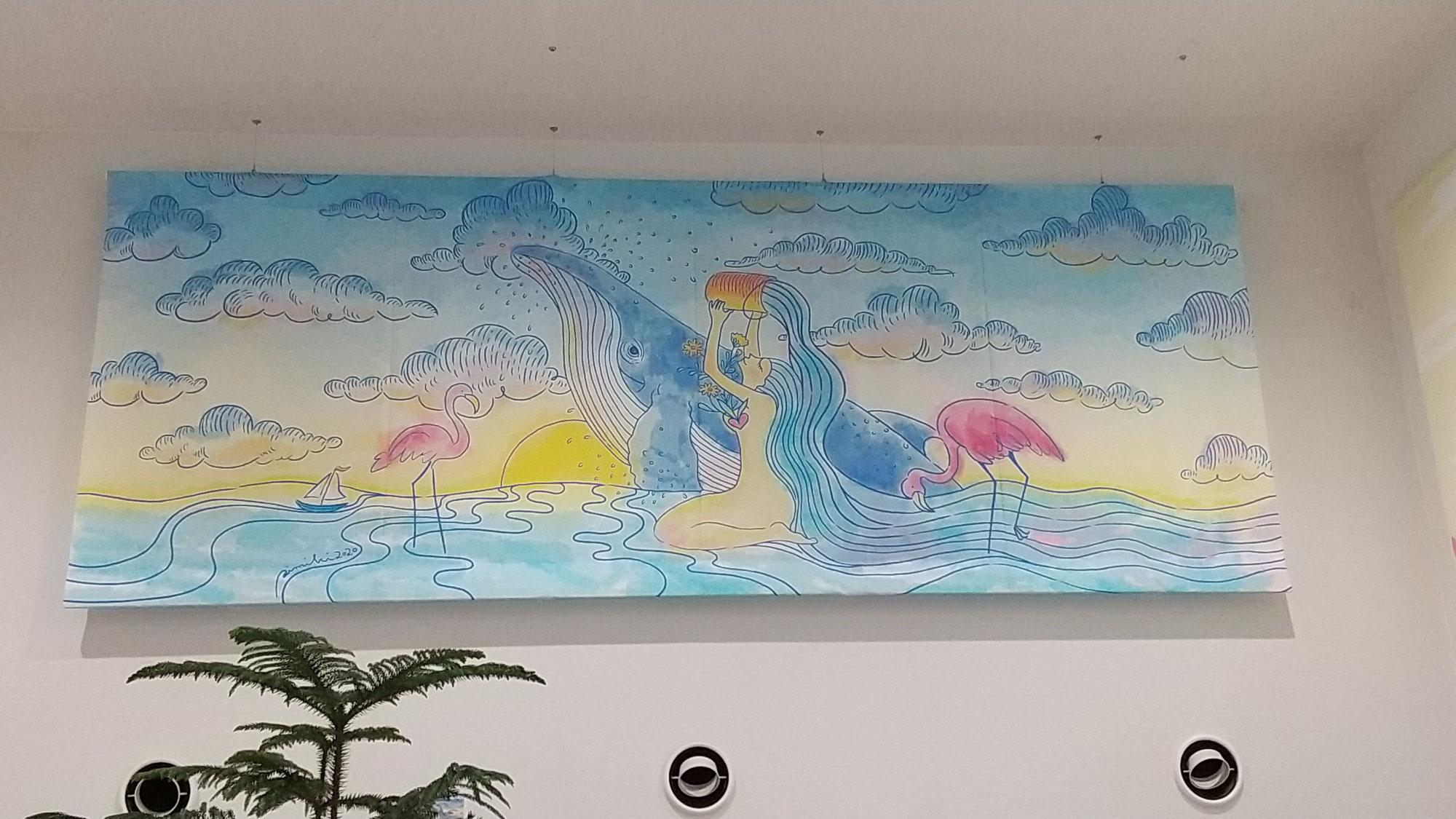 三木あい氏デザインのスクリーンがホール内に2点追加されました