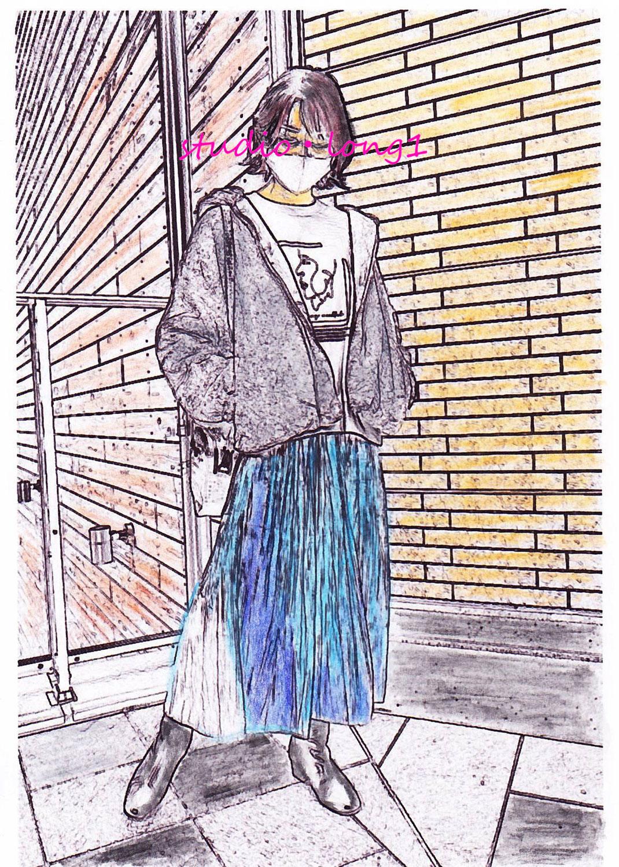 ファッション水彩色鉛筆画 横浜市のN.S様