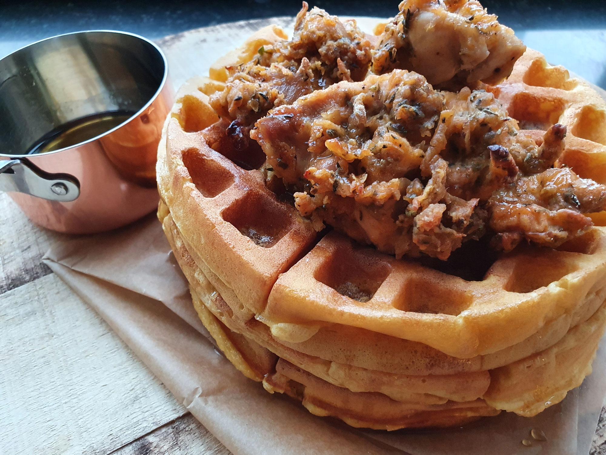 Chicken & sweet potato waffles