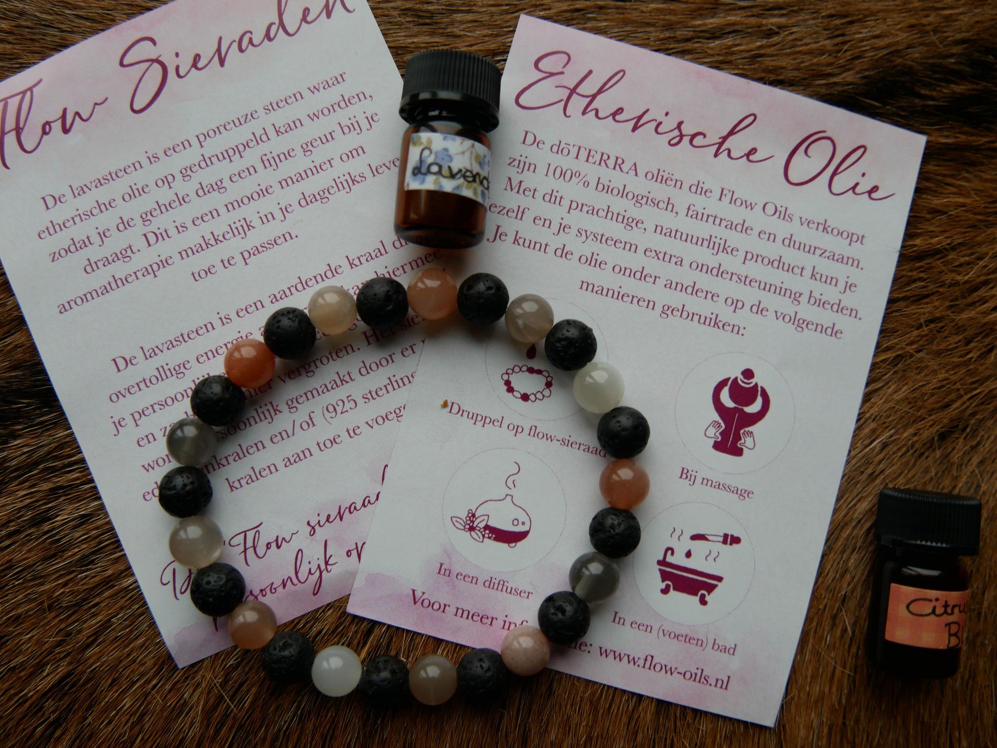 Aroma armband-  Etherische olieën lavasteen kralen
