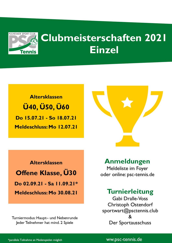 PSC Clubmeisterschaften im Einzel 2021