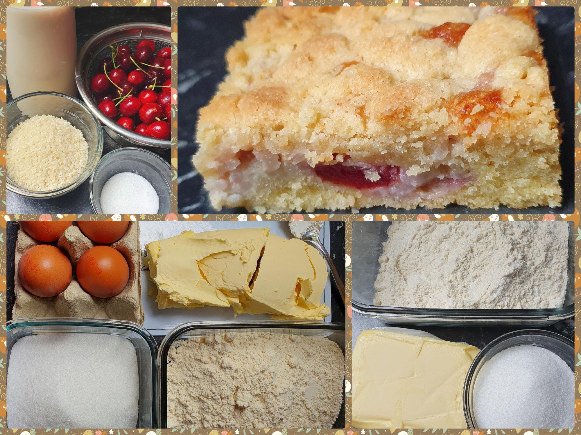 Streuselkuchen mit Milchreis und Kirschen
