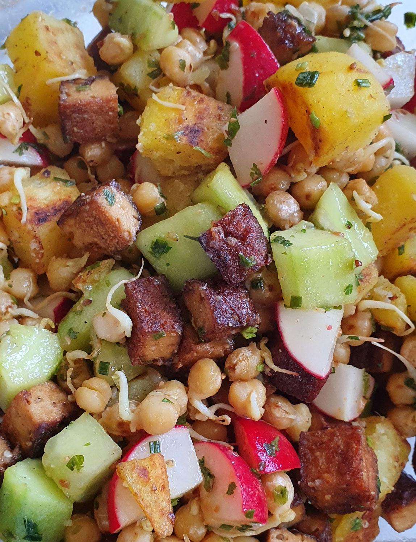 Bunte, warme, Kichererbsen-Sprossen Salat Variante