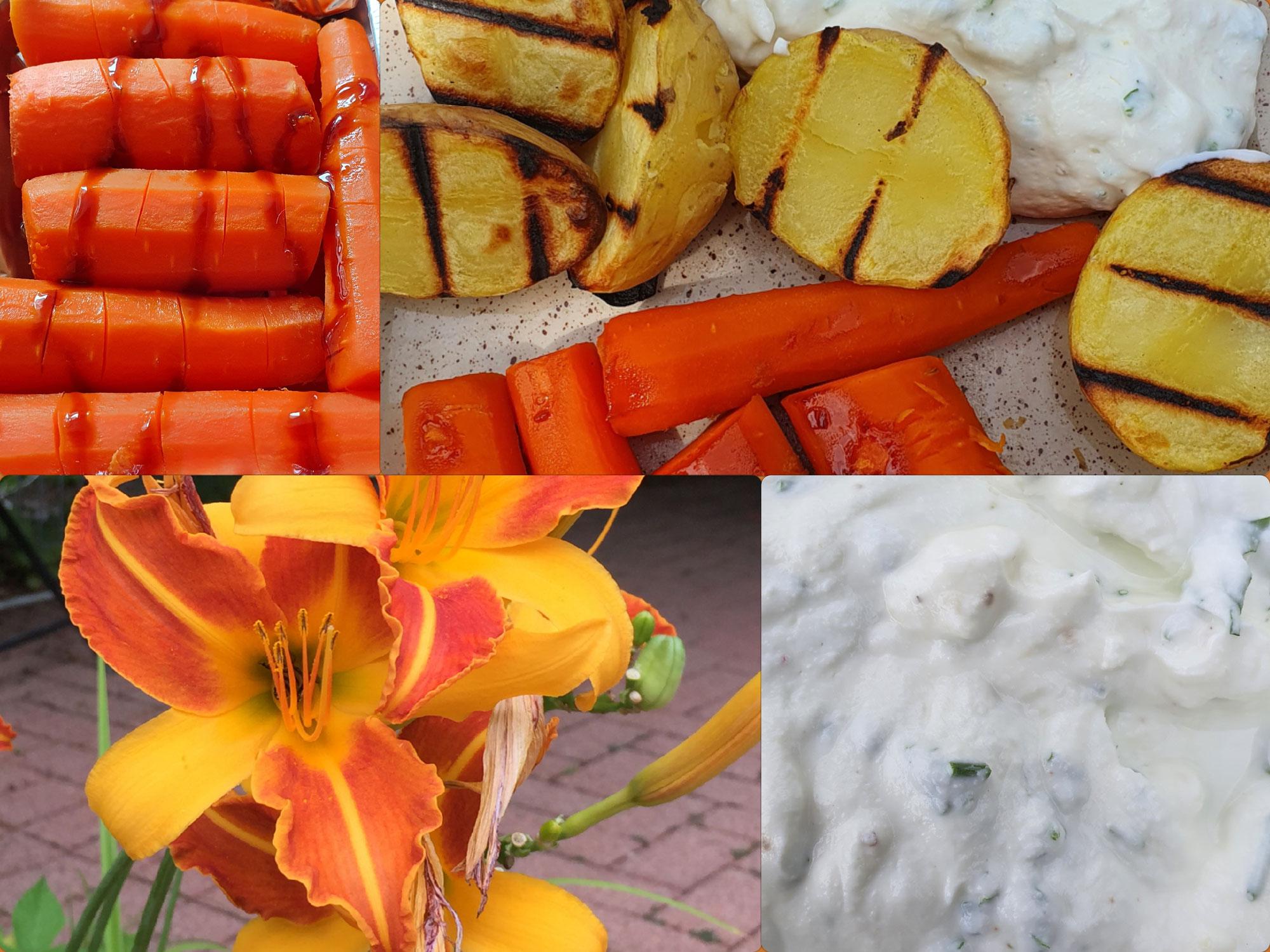 Möhren mit Kartoffeln und Kräuterquark