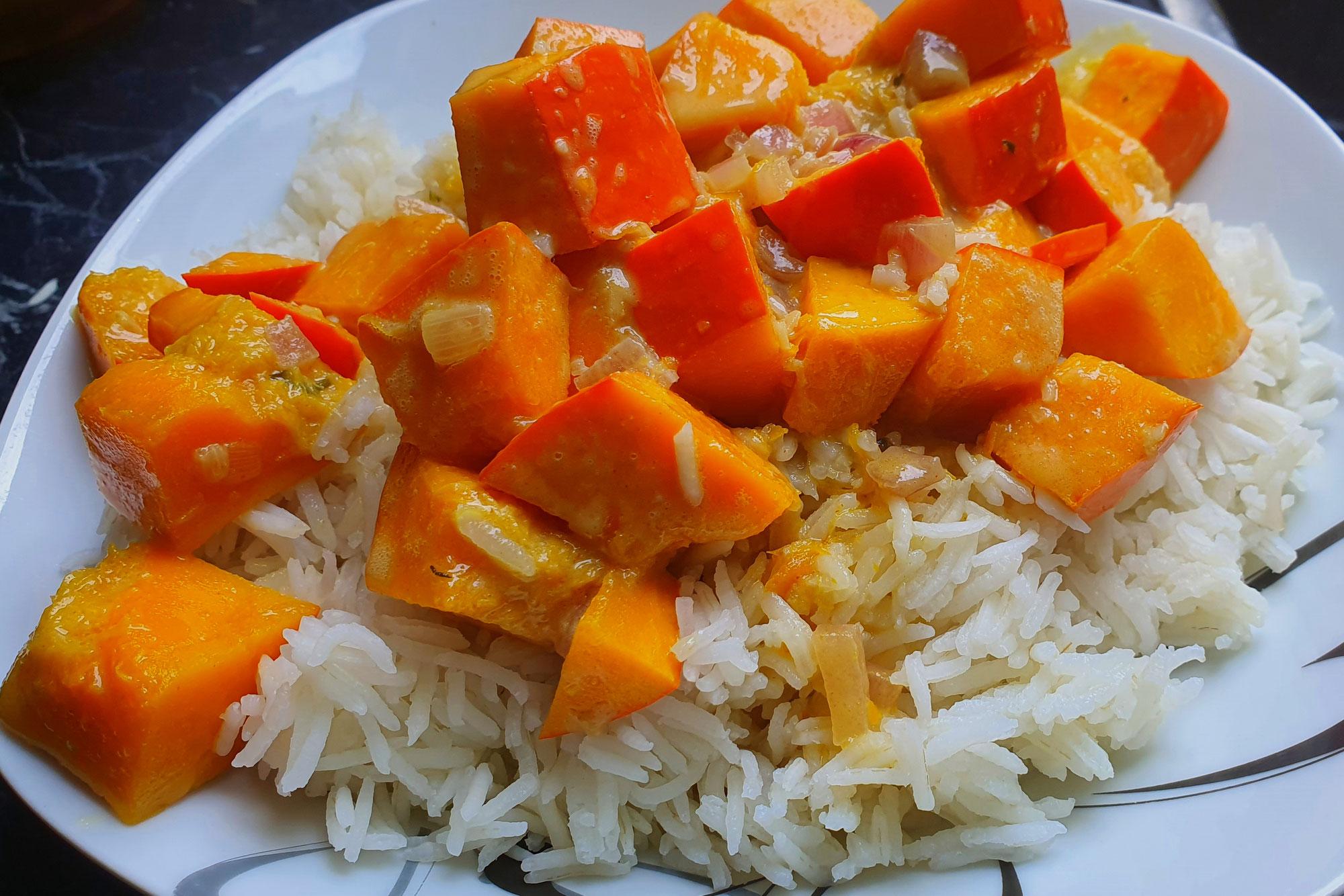 Kürbis Kokos Reis vegan