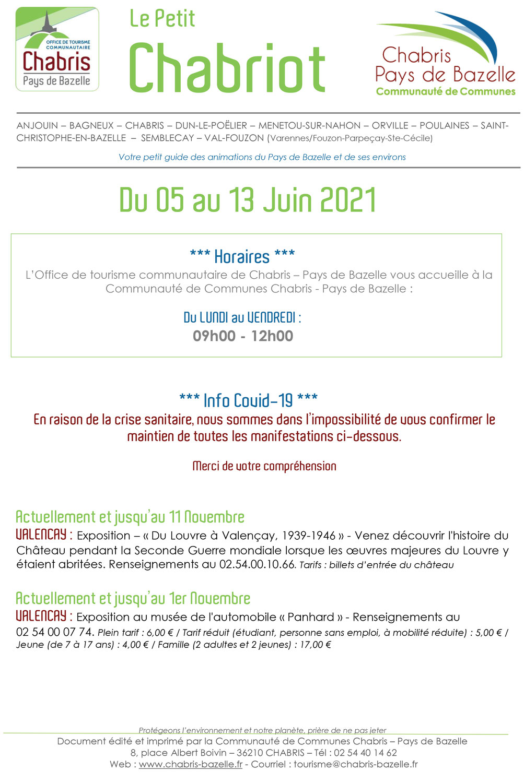 Le Petit Chabriot du 5 au 13 juin 2021