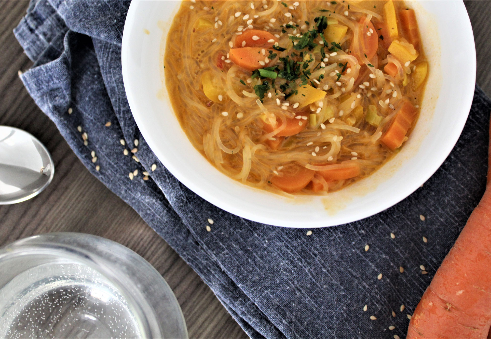 easy thai inspired healthy vegan & gluten free glass noodle soup recipe