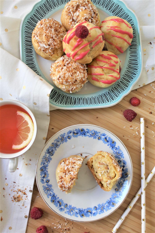 coconut & raspberry cream puffs + pink lemonade from scratch