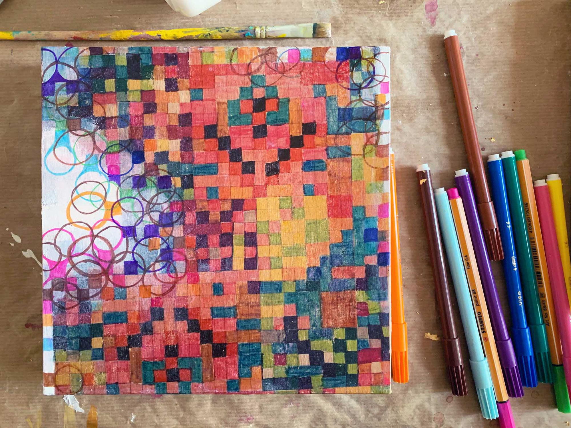 Farbfeldmalerei - bunte Muster malen