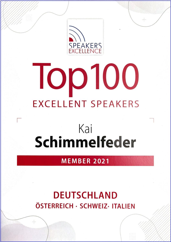 TOP 100 Speaker - Speakers Excellence und Kai Schimmelfeder auch in 2021 mit Vortrag Fördermittel für Unternehmen und Startups