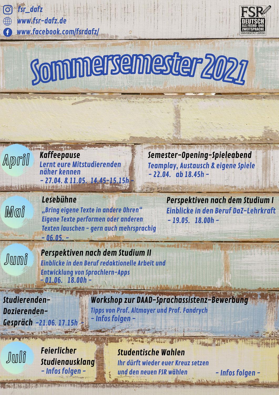 Veranstaltungen im Sommersemester 2021