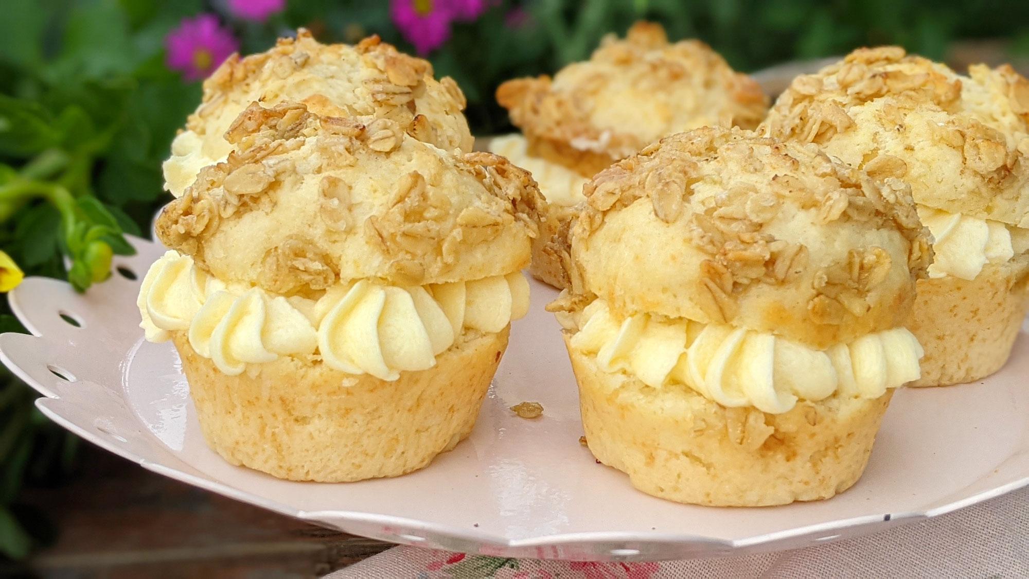 Bienenstich-Hafer-Cupcakes