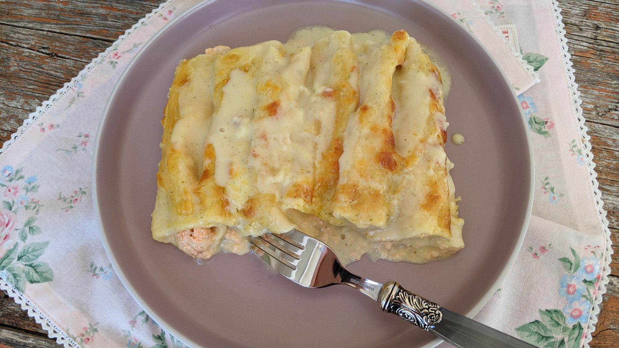 Cannelloni mit Lachsfüllung