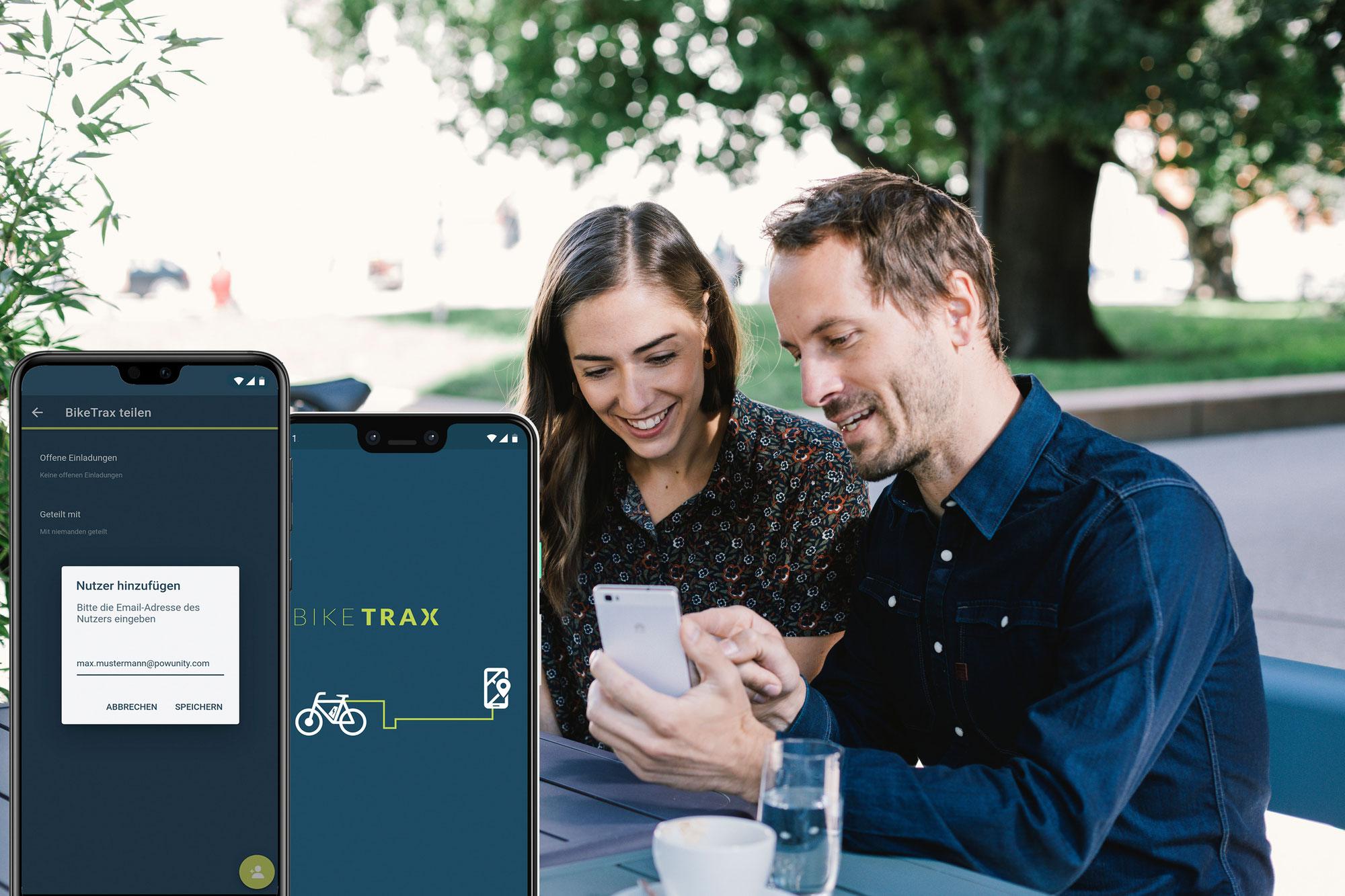 Neue PowUnity App Funktion - BikeTrax teilen
