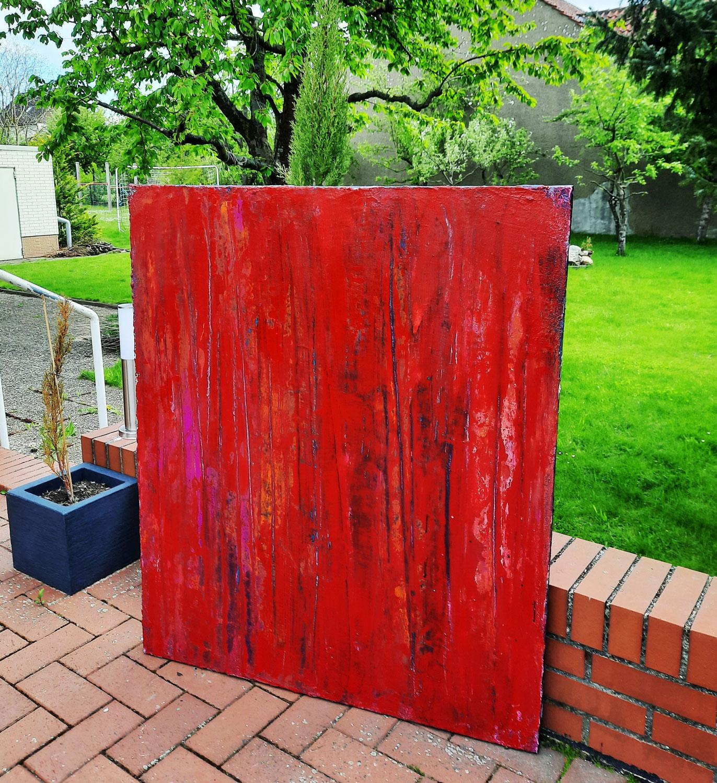120 x 100 cm -rotes abstraktes Acrylbild starke Struktur