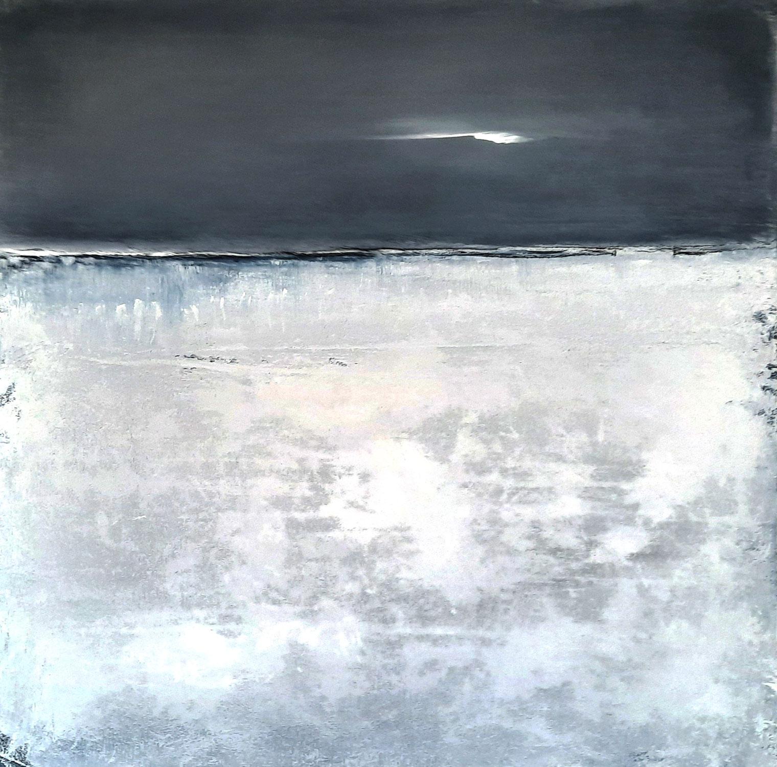 100 x 100 cm - Abendschein - graues weisses Bild