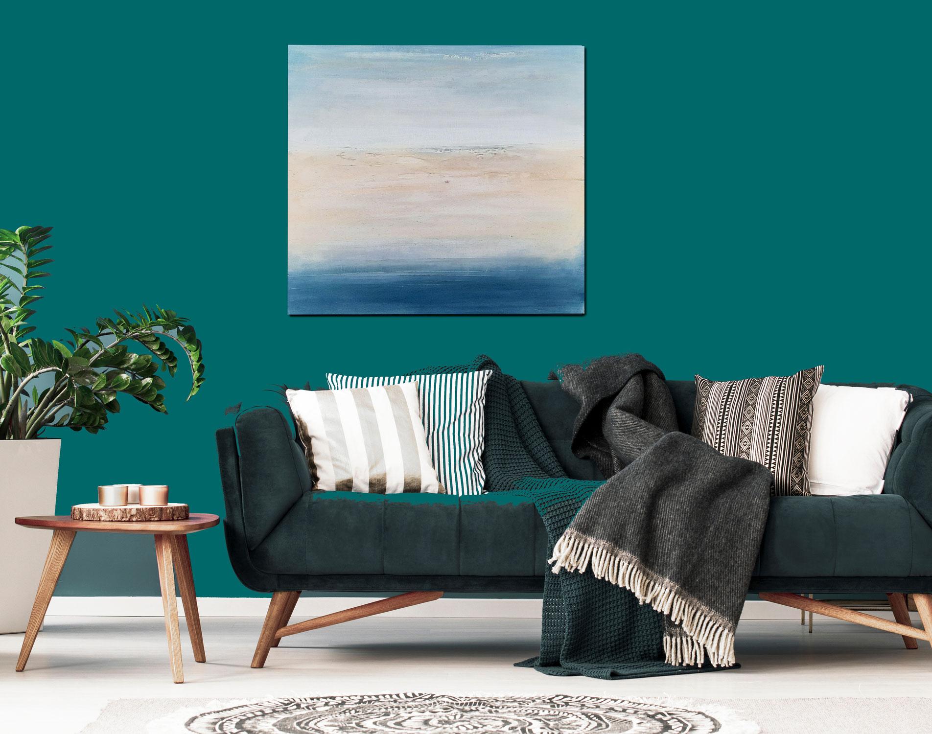 Strandspurenausflug - Blaues Bild 100 x 100 cm